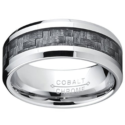 Cobalt Men's Promise Ring W/Gray Carbon Fiber Inlay