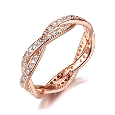 Presentski 925 Sterling Silver Rose Gold-plated Engagement Wedding Rings with Cubic Zirconia