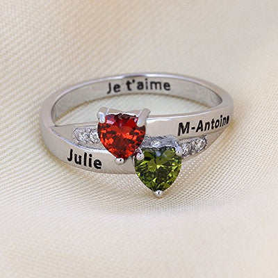 Engraved Promise Ring - His & Her Birthstone Hearts