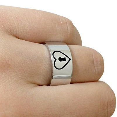 Sterling Silver Lock and Key Couples Promise Ring