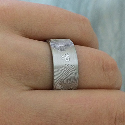 Unique & Personalized Two Fingerprints Couples Promise Ring