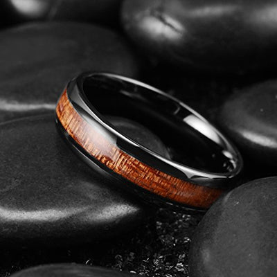 Nature 6mm Black Domed Koa Wood Ceramic Mens Ring
