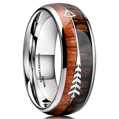 Nature 8mm Mens Ring - Real Wood Inlay Tungsten Carbide