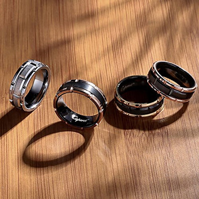 Caperci Brick Pattern Tungsten Carbide Ring