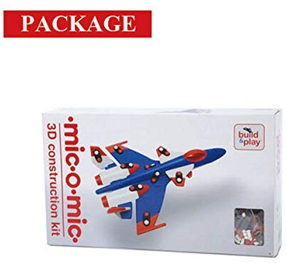 MIC-O-MIC. Fighter plane (blue) 3D Construction Kit