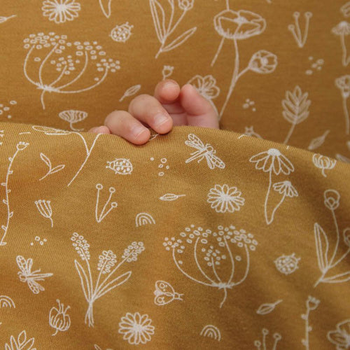 LITTLE DUTCH. Cot sheet Wild Flowers Ochre 110x140