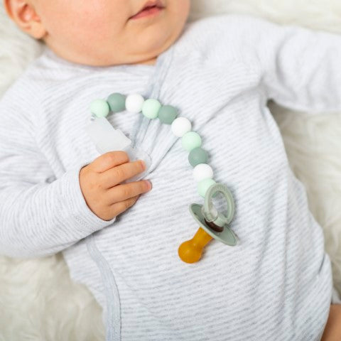SILICON. Silicone pacifier clip - teething (white-light green)