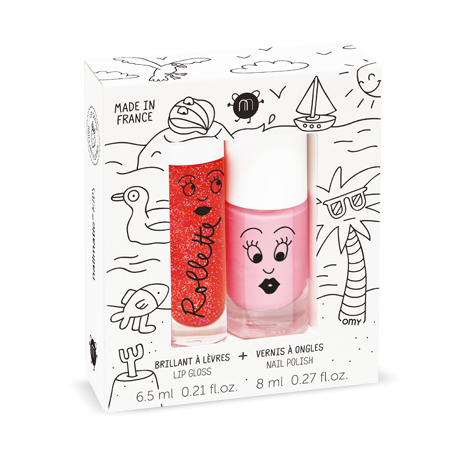 NAILMATIC. Σετ Lip gloss+βερνίκι νυχιών Holidays (Fraise-Cookie)