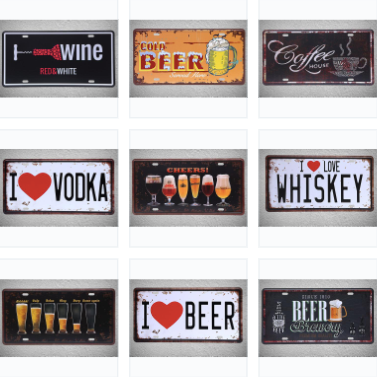 Vintage License Plate Wall Art (Many Styles)