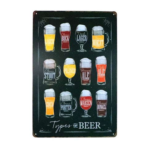 Types of Beer Sign