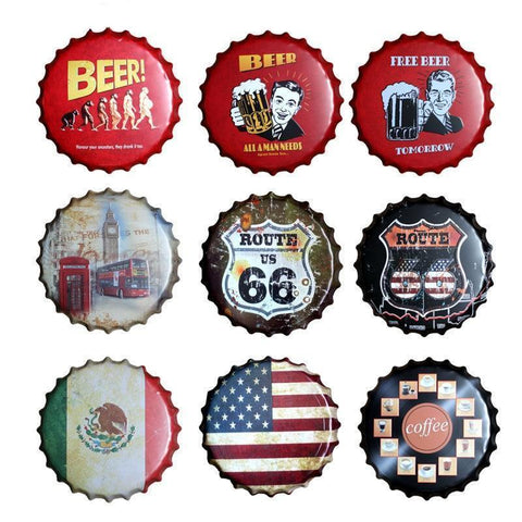 Bottle Cap Metal Wall Art (Many Styles)