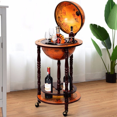 "36"" Wooden Globe Rolling Bar Stand"