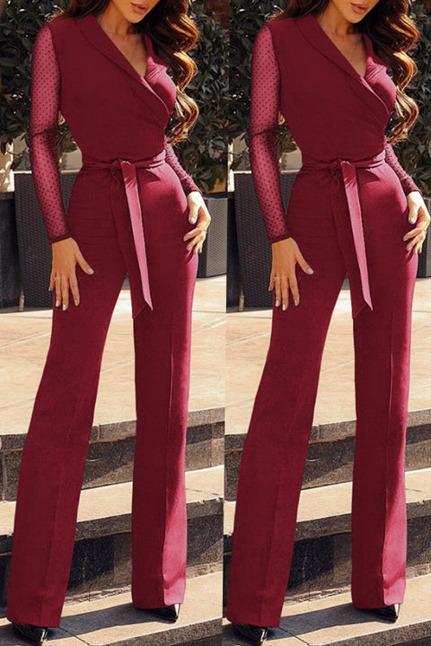 6cad5433769 Fashionholy Casual Patchwork Wine Red Blending One-piece Jumpsuit