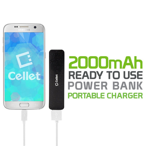 Cellet 2000mAh Power Bank Portable Charger, Black
