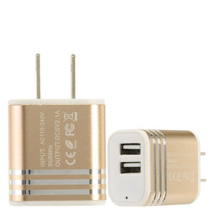 Dual USB Quickcharge Home Charger Adapter 2.1amps, Gold