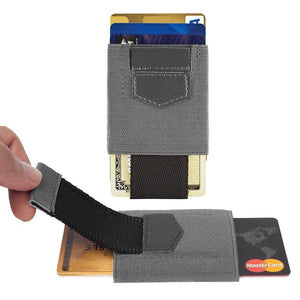Slim Elastic Card Holder Wallet, Gray/Black