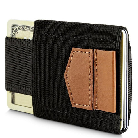 Slim Elastic Card Holder Wallet, Black/Brown