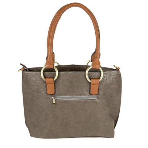 Vegan Leather Contrast Tote Bag with Gold Metal Hardware, Gray