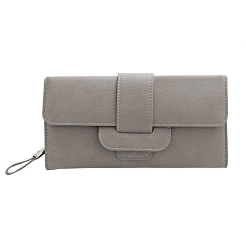 Image of Smooth Compact Clutch Wallet with interior Zip Pocket, Gray