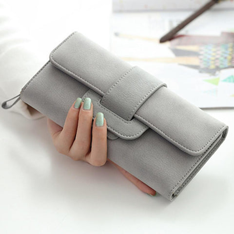 Smooth Compact Clutch Wallet with interior Zip Pocket, Gray