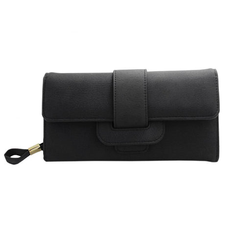 Image of Smooth Compact Clutch Wallet with interior Zip Pocket, Black