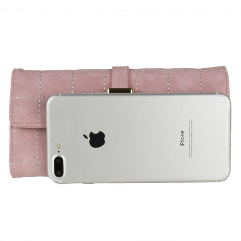 Retro Style Vegan Leather Clutch Wallet with Snap Closure, Light Pink