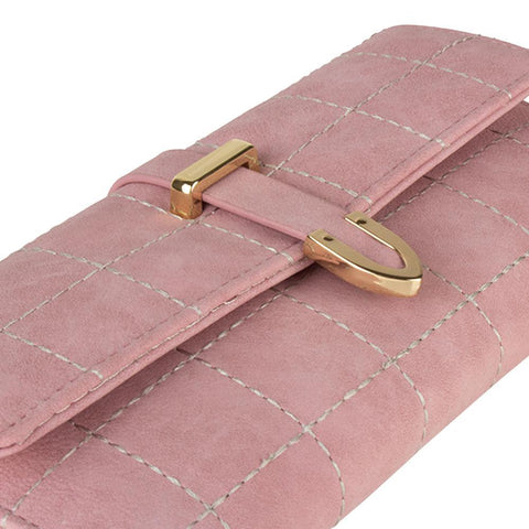 Image of Retro Style Vegan Leather Clutch Wallet with Snap Closure, Light Pink