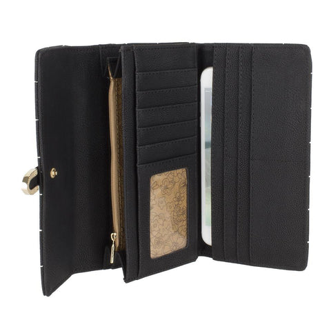 Image of Retro Style Vegan Leather Clutch Wallet with Snap Closure, Black
