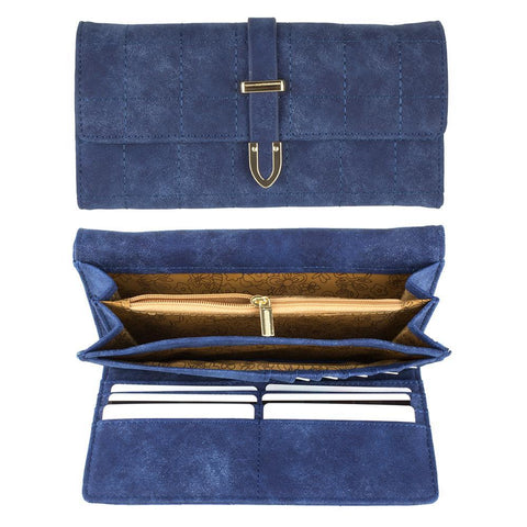 Image of Retro Style Vegan Leather Clutch Wallet with Snap Closure, Blue