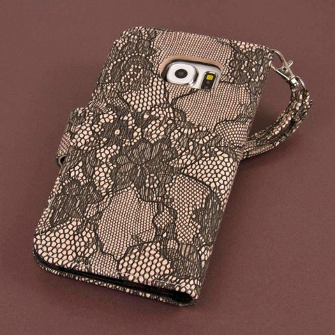 Image of Mpero Flex Flip Wallet With Card Slots And Wrist Strap - Black Lace Phone Wallets Wristlets & Clutches