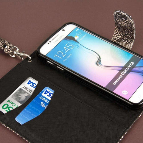 Mpero Flex Flip Wallet With Card Slots And Wrist Strap - Black Lace Phone Wallets Wristlets & Clutches