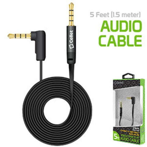 Cellet 5 Foot 1.5 meter Premium Flat Wire 3.5mm to 3.5mm Right Angle Pin Auxiliary Audio Cable, Black