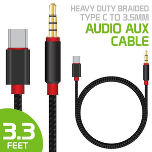 Cellet Heavy Duty Braided Type C to 3.5mm Audio Aux Cable 3.3 feet, Black