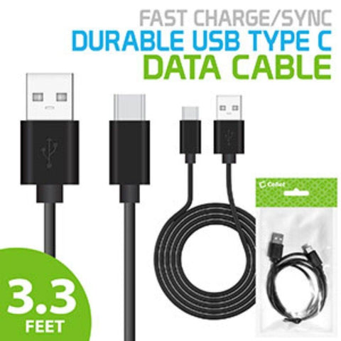 Cellet Durable 3.3ft Type C Fast Charging 2.4Amp Data Sync Cable, Black