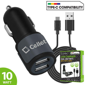 Cellet High Power 2.1A 10W Dual USB Car Charger, Gray/Black
