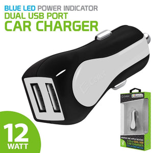 Cellet RapidCharge 12W 2.4A Dual USB Car Charger, White