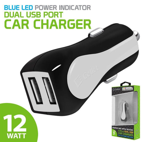 Image of Cellet RapidCharge 12W 2.4A Dual USB Car Charger, White
