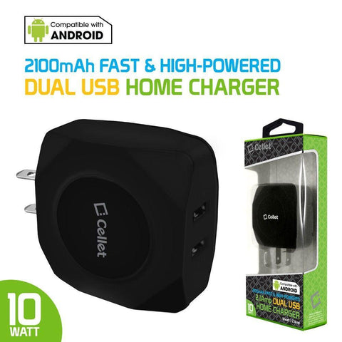 Cellet 10 Watt 2.1 Amp Dual USB Home Wall Charger, Black