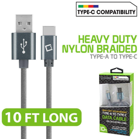 Image of Cellet Type-C 10ft Heavy Duty Nylon Braided USB-A to USB-C Cable, Gray