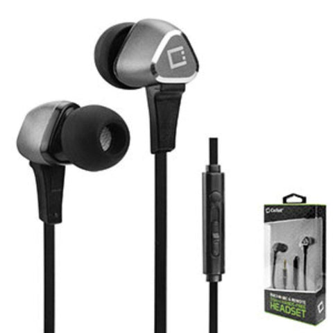Cellet Premium 3.5mm Hands-Free Stereo In-Ear Headphones with Built-In Microphone and Multifunction Remote, Silver/Black