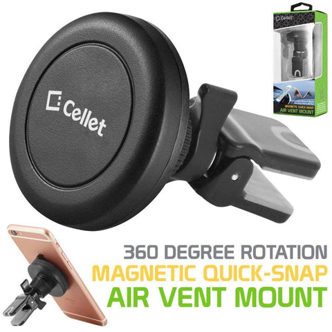 Cellet Universal Premium Quick-Snap Smartphone Car Vent Mount with 360 Degree Rotation, Black