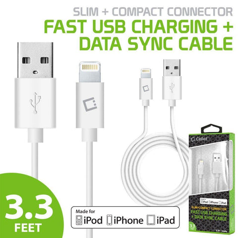 Cellet Fast USB Charging Sync Lightning to USB Cable, White