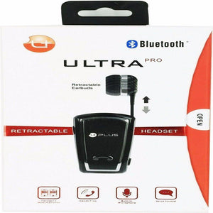 uPlus Ultra Pro Sports Wireless Bluetooth Retractable Headset, Black