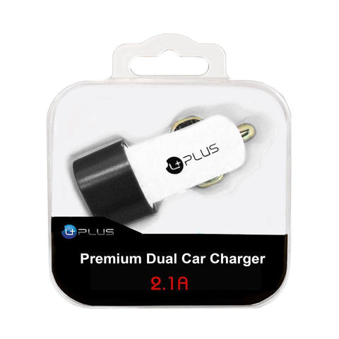 Image of uPlus Premium 2.1A Dual Car Charger Adapter, White