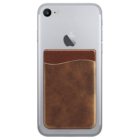 Vegan Leather Stick-on Card Pocket, Brown