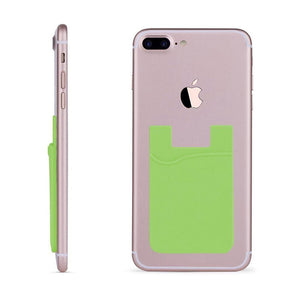 Rubber Silicone Stick-on Card Pocket, Green