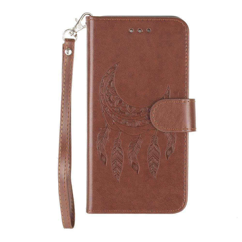 meet 9fa58 002e1 Embossed Moon Dream Catcher Design Wallet Case with Detachable Matching  Case and Wristlet, Brown for Apple iPhone 6/iPhone 6s/iPhone 7/iPhone 8