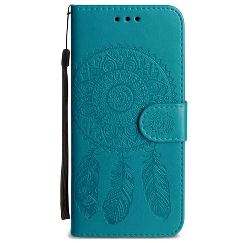 Image of Embossed Dream Catcher Design Wallet Case With Detachable Matching And Wristlet Teal Phone Wallets Wristlets & Clutches