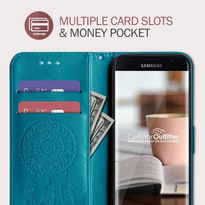 Embossed Dream Catcher Design Wallet Case with Detachable Matching Case and Wristlet, Teal