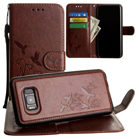 Image of Embossed Humming Bird Design Wallet Case With Matching Removable And Wristlet Brown Phone Wallets Wristlets & Clutches